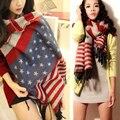 Бесплатная доставка осень и зима утолщение тепловой американский флаг искусственной шерстяной пятиконечная звезда дамы шарф мыс глушитель шарф