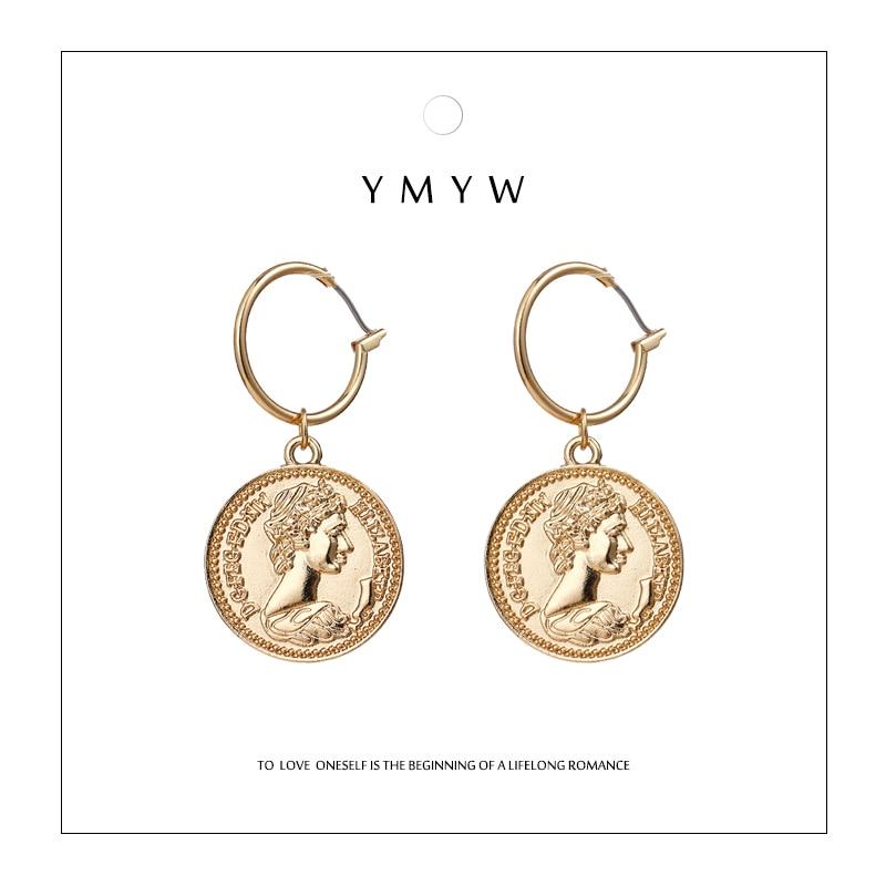 YMYW Vintage Medusa Trendy Zinc Alloy Coin Portrait Pendant Drop Dangle Earrings Charms Gold Ethnic Women Brincos Oorbellen 2019