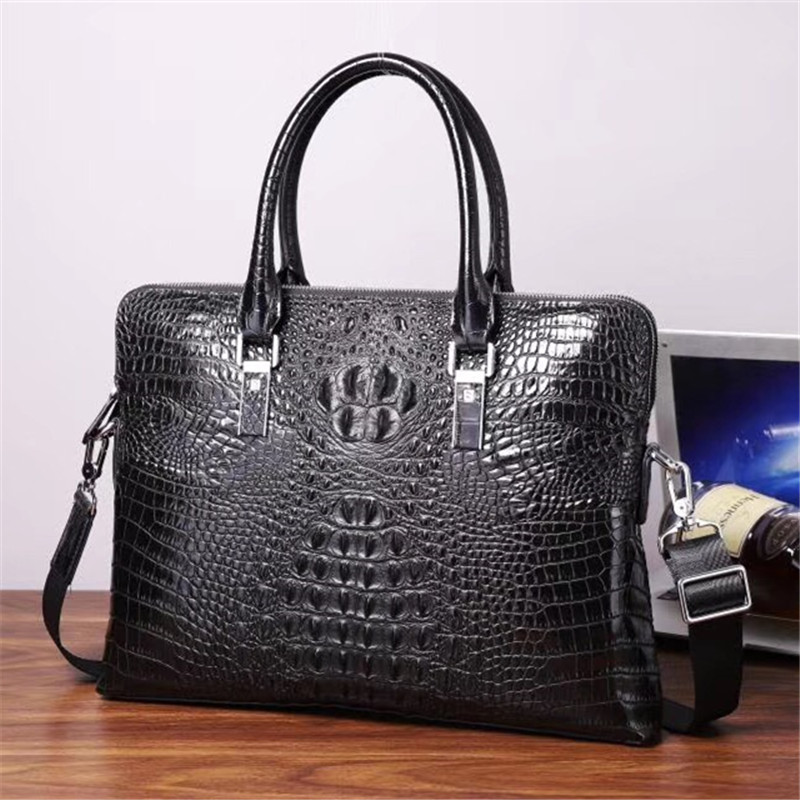 Kaisiludi Crocodile Leather Handbag Men's And Women's Leather Bag Business Computer Briefcase Double Pull Shoulder Bag