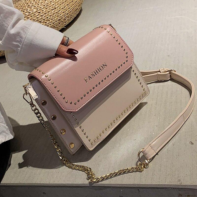 Elegant Female Flip Square Bag 2019 Fashion New Quality PU Leather Women's Designer Handbag Rivet Chain Shoulder Messenger Bags