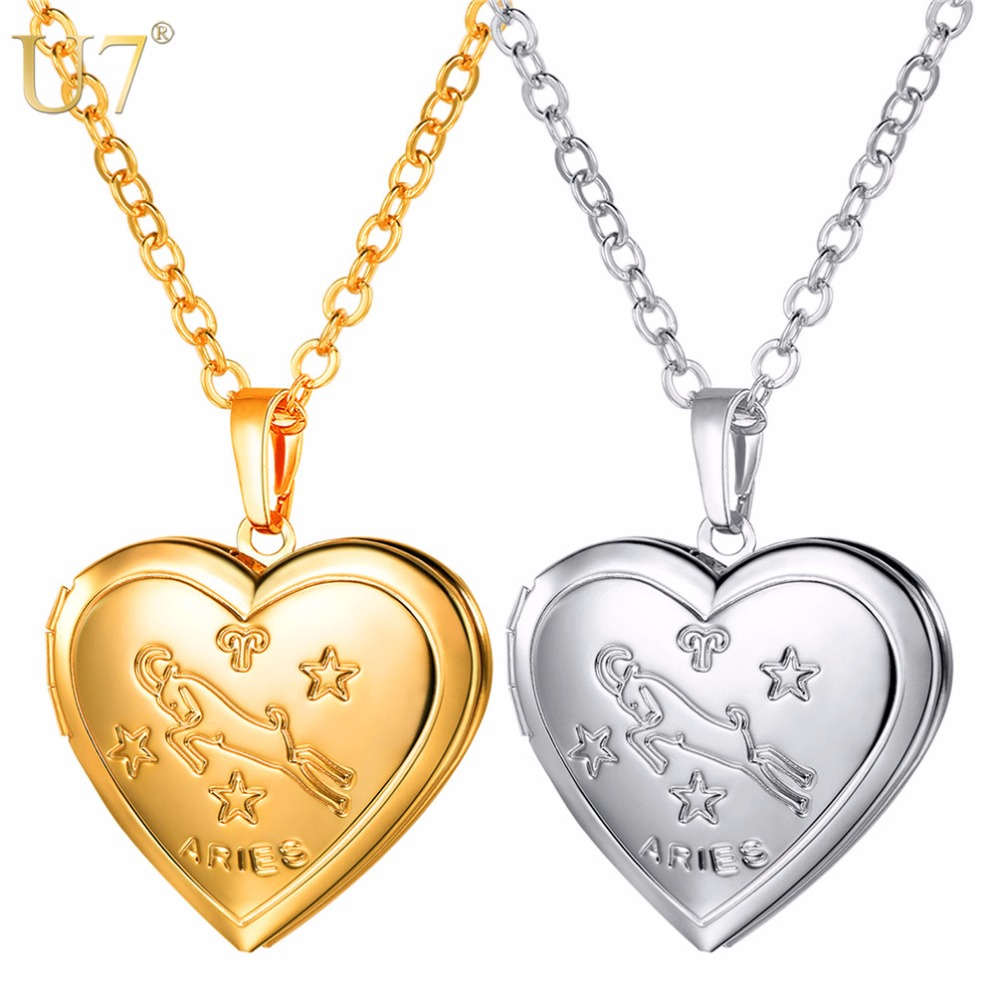 U7 Locket Necklaces 12 Constellations/Zodiac Heart Pendant & Chain 2018 Mothers Day Gift Men/Women Jewelry Necklace P1158