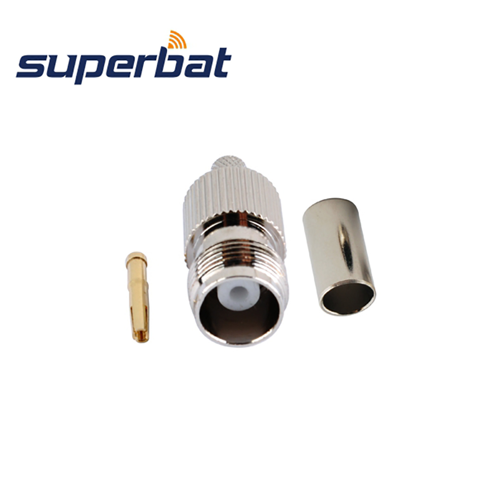 Superbat 10pcs TNC Crimp Jack Female RF Connector For Coaxial Cable LMR195 RG58 RG400 RG142 For Pigtail Cable Free Shipping