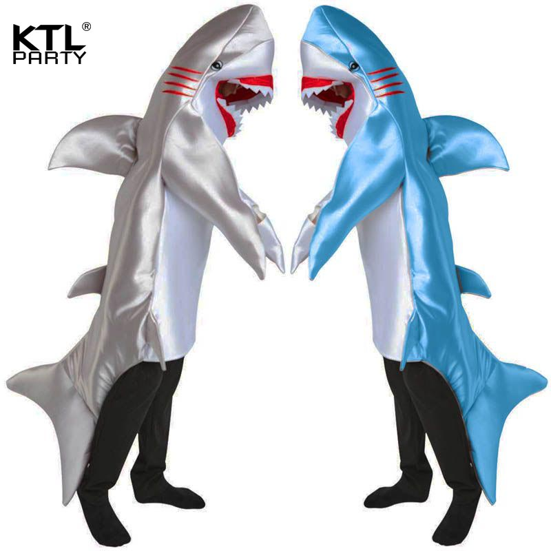 Adult children Attack blue silver Shark Costume Party Mascot animal Costume Jumpsuit Halloween Fancy Dress rompers men kid