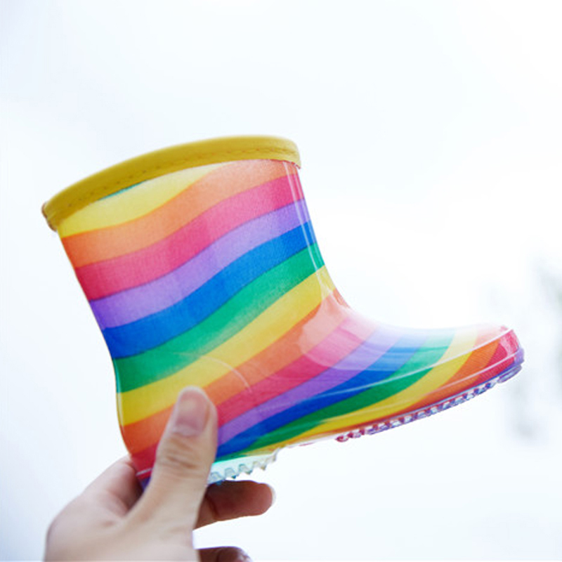 New Rainbow Childrens Water Shoes Crystal Girls Shoes Kids Rainboots Anti-skid Light Baby Infant Footwear Rainshoes for Neutral ...