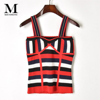 High 2018 Summer New Style Pierced Patchwork Stripe Pierced Hollow Out Bead Bead Knitted Sling Vest Red Yellow S L Tanks Tops