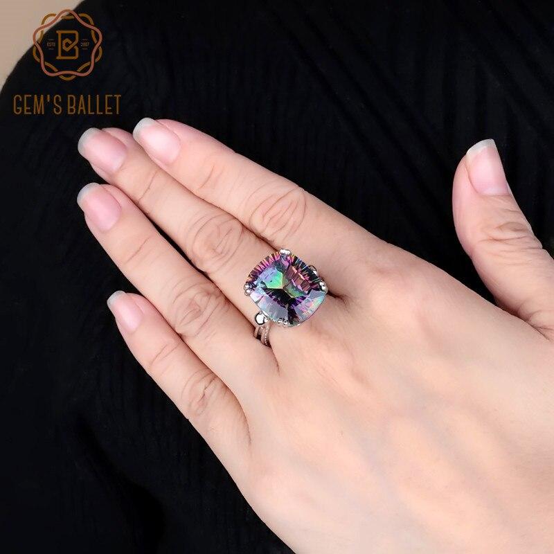 GEM'S BALLET Mystic Quartz - Rainbow Gemstone Ring 925 Sterling Sliver Rectangle Colorful Wedding Rings For Women Fine Jewelry