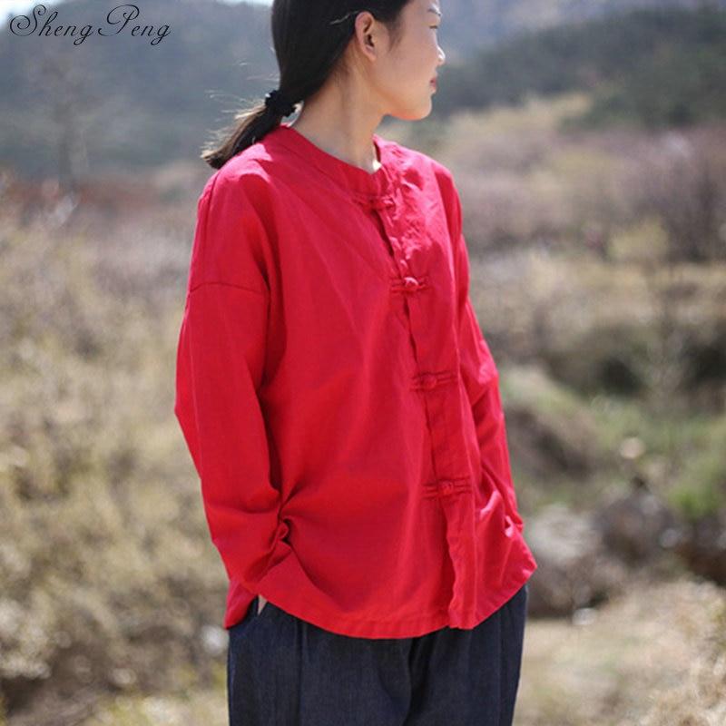 Vêtements chinois traditionnels décontracté hauts amples blouse marché chinois en ligne traditionnel chinois petit haut Q329 - 6