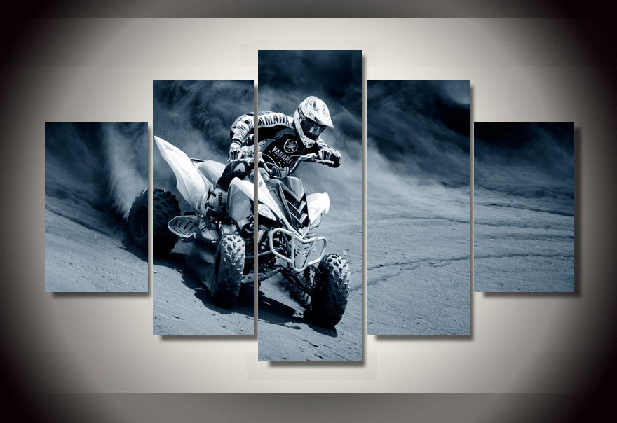 JIE DO ART 5 Pieces Motorcycle Racing Modern Home Wall Decor Painting Canvas HD Print Painting Canvas Wall Picture For Home