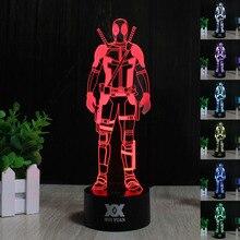 ХУЭЙ ЮАНЬ 3D Led Творческая Атмосфера Marvel Анти-герой Deadpool Цвет Иллюзия Декор Лампы 7 цвет Градиента Визуальную Перспективу свет
