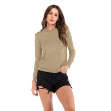 YYFS 2019 New Women Fashion O-neck Tops Long Sleeve Cotton Knitting T Shirt Slim Casual t-shirt women Basic Tees Shirts