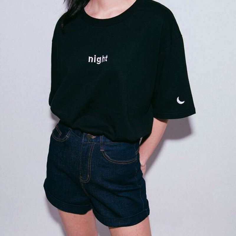 Musim panas Wanita T-shirt Harajuku gaya Hari dan Malam Bordir - Pakaian Wanita - Foto 2