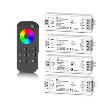Nowy taśma Led RGB kontroler 2 4G RF 12V 24V wejście zasilania 4A 3 kanał wyjściowy bezprzewodowy odbiornik RT9 4 strefa pilot zdalnego sterowania tanie i dobre opinie CN (pochodzenie) 2 4GHz RF remote wireless V3+RT9 Touch remote 2 4GHz rgb strip controller Kontroler RGB Glass and ABS Led RGB strip