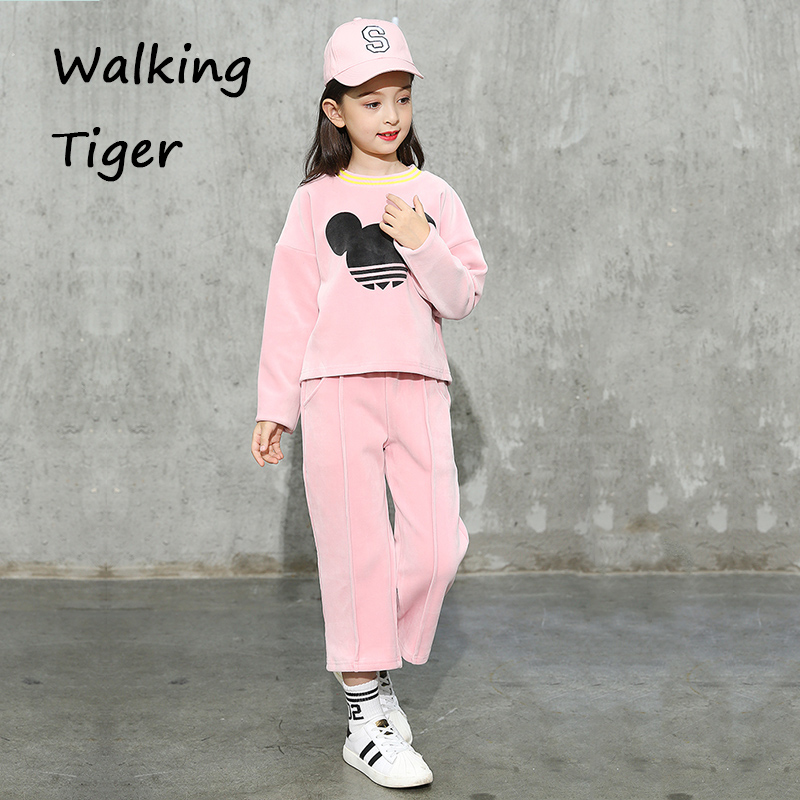 Girls tops + trousers,kids clothes sets fashion autumn 2017 coat loose pants casual clothing