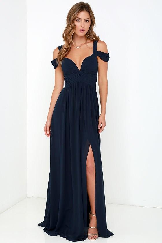 2016 Maxi Long Floor Length Navy Blue Simple Sexy Teen ...
