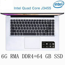 P2-03 6G RAM 64G SSD Intel Celeron J3455 Gaming laptop notebook computer keyboard and OS language available for choose