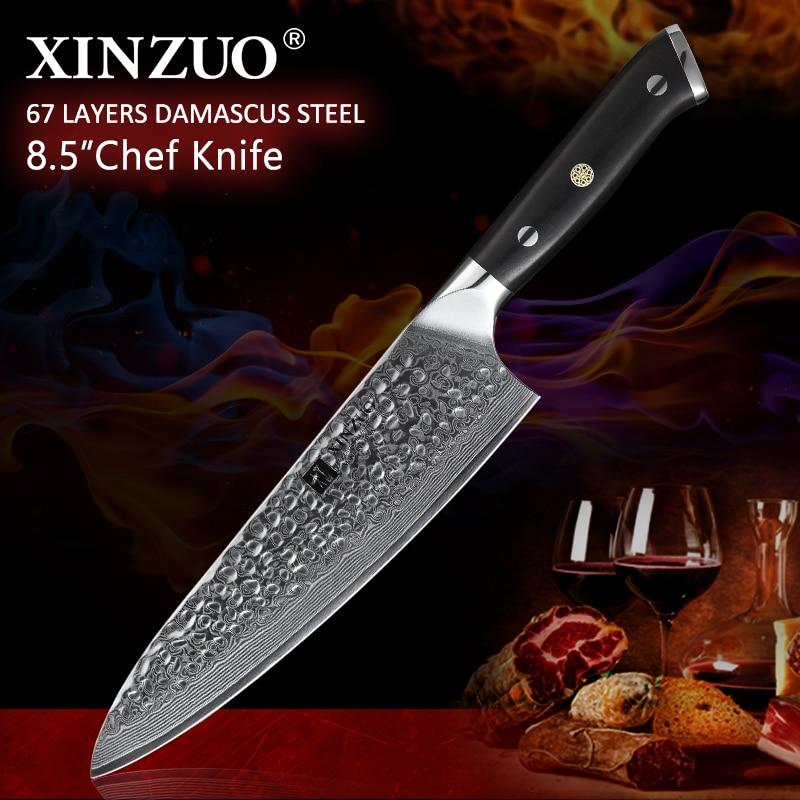 """XINZUO 8.5 """"سكين الطاهي 62 Hrc عالية الكربون VG10 دمشق الصلب اكسسوارات المطبخ Gyotou سكين أفضل هدية السكاكين الأبنوس مقبض-في سكاكين مطبخ من المنزل والحديقة على  مجموعة 1"""