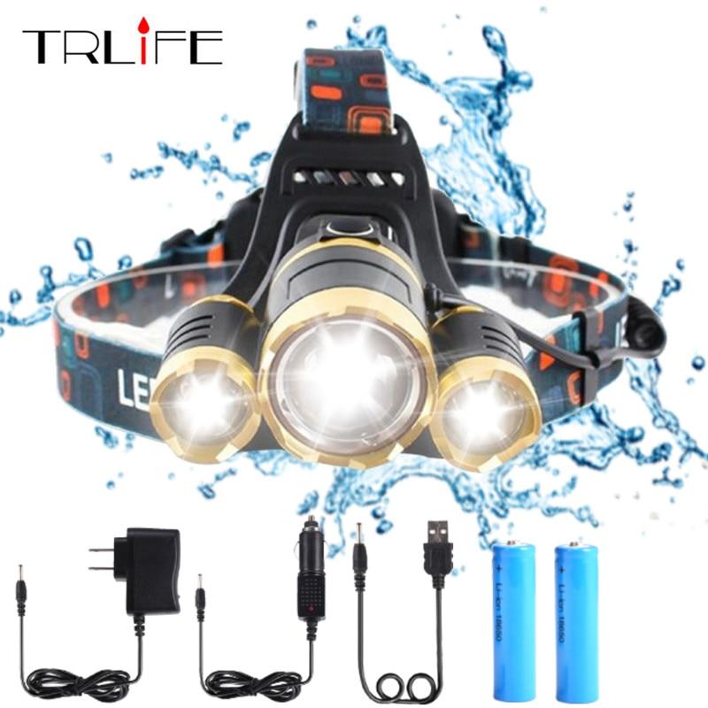 Alta calidad 15000 lúmenes linterna de LED CREE XML 3 * T6 Zoom faro faros Lámpara 2*18650 batería + AC/cargador de coche/USB