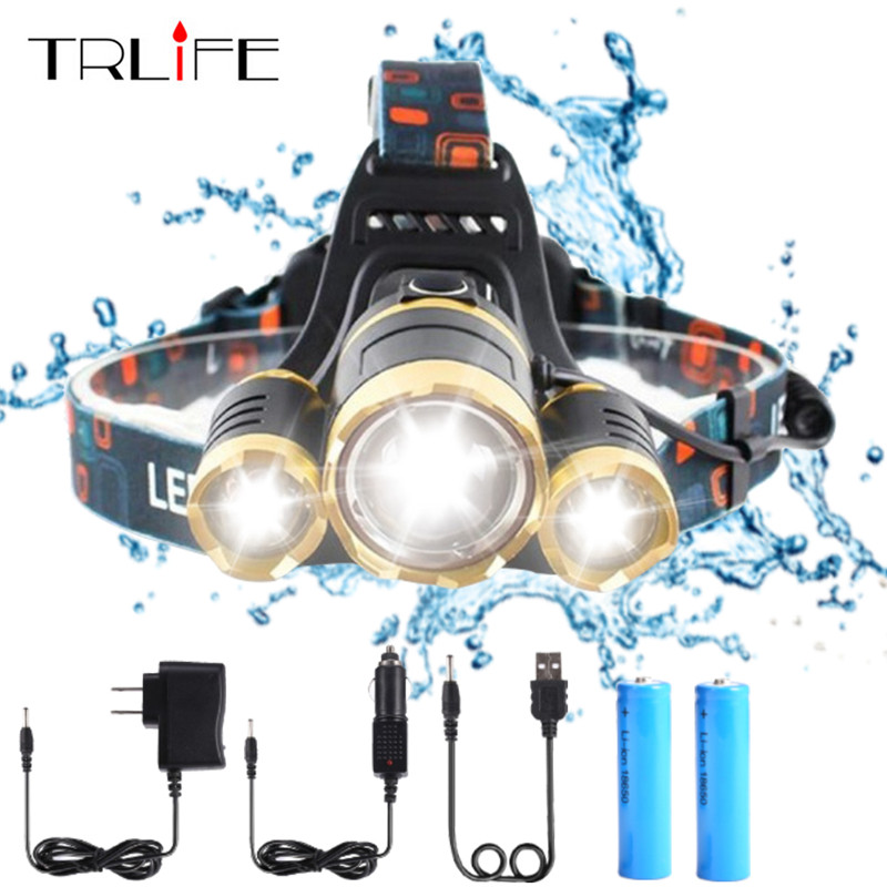 High quality 15000 Lumens Headlight LED Headlamp CREE XML 3*T6 Zoom Headlamp Head Lights Lamp+2*18650 Battery+AC/Car/USB Charger 2 in 1 waterproof headlamp headlight xml t6 outdoor sports head lamp front bikelight& 4 18650 battery pack worked charger