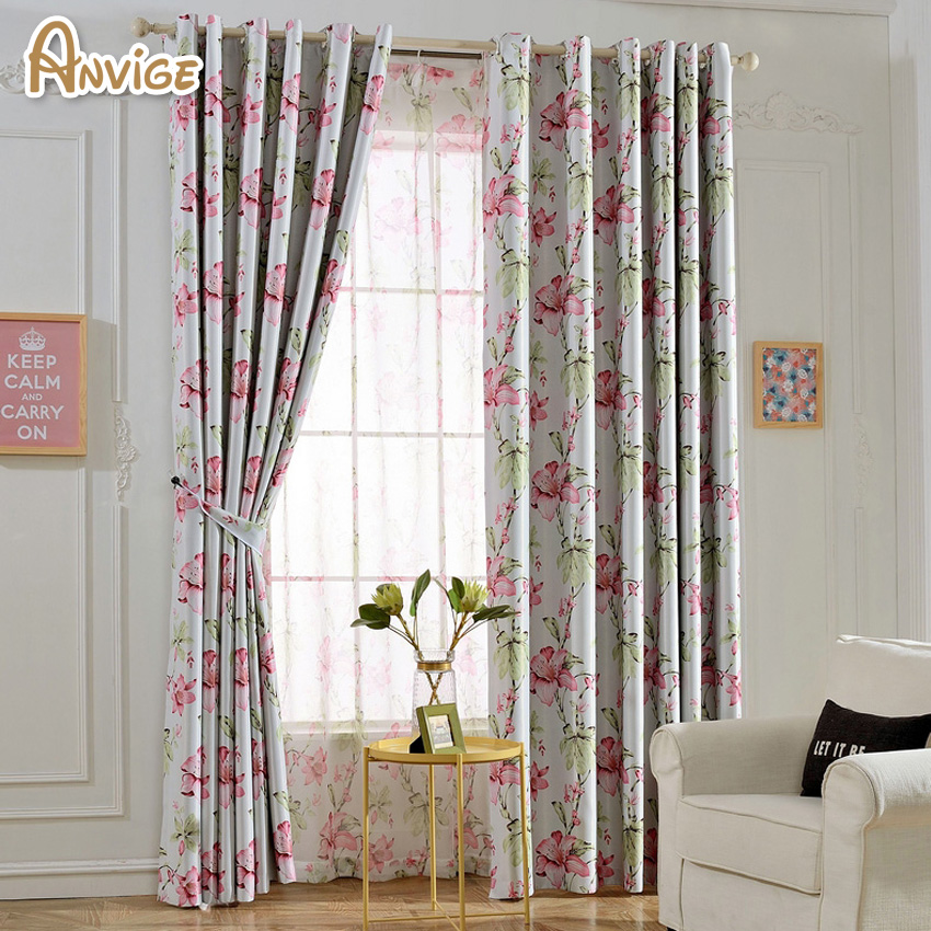Window Curtains For Living Room Printed Flowers Drapes Half Blackout Window  Treament(China (Mainland