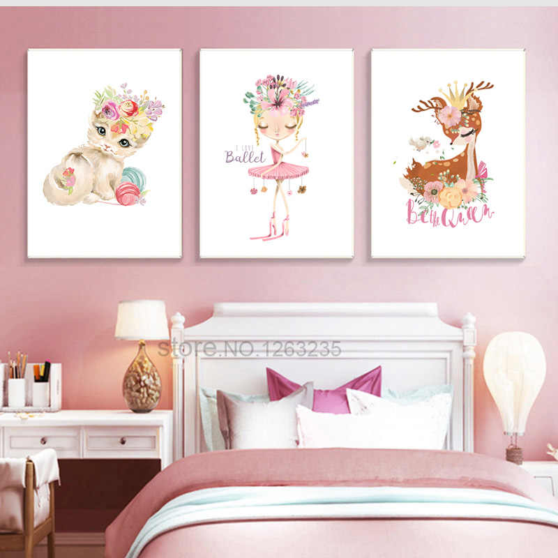 Ballet Princess Nursery Nordic Poster Swan Wall Art Canvas Painting Wall Pictures For Children Room Kids Gifts Cuadros Unframed