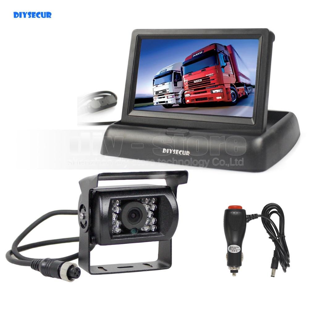 DIYSECUR DC12V-24V 4PIN 4.3inch Reverse Rear View Car Monitor Waterproof CCD Backup Night Vision Bus Truck Camera car charger