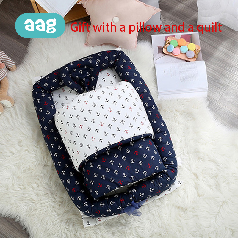 AAG 3PCS/Set Portable Baby Nest Bed Cotton Active Printing Detachable Zipper Newborn Travel Bed Crib Imitation Uterus 0-24M
