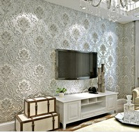High Quality Embossed Damask Wallpaper For TV Background Bedding Room