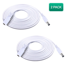 2 Pack 12ft 2.1mm x 5.5mm Male to Female DC Extension Cable 20AWG White for 5V 12V 24V Wireless Security/CCTV/IP Camera