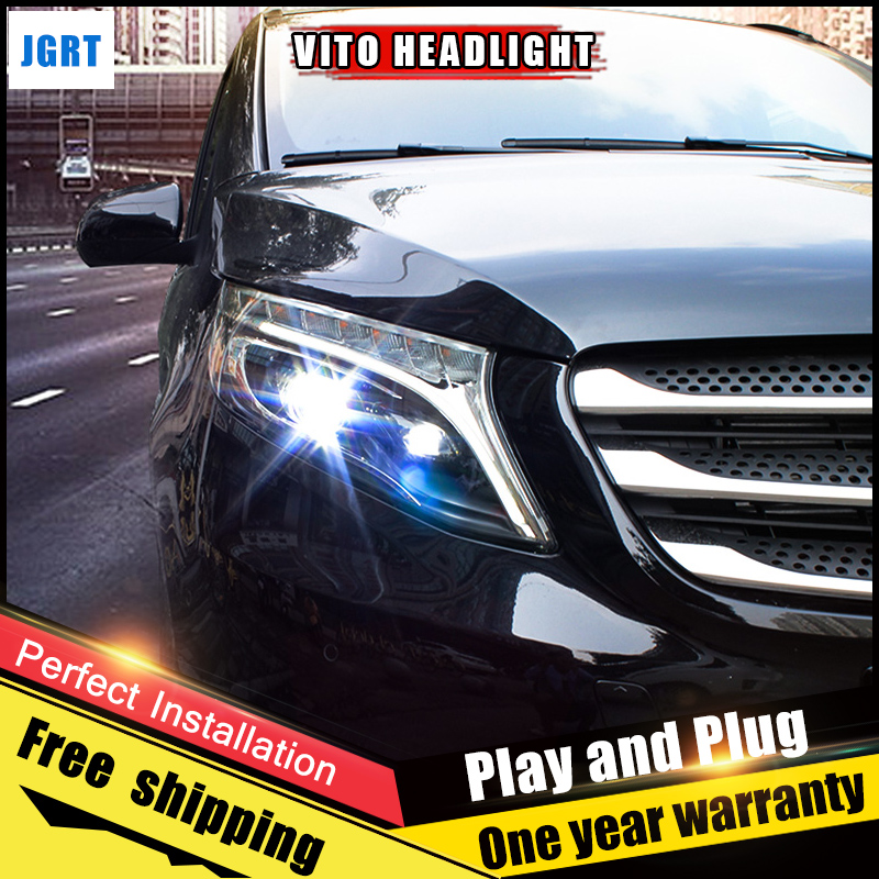 2PCS Car Style LED headlights for Benz vito 2017 for vito head lamp LED DRL Lens Double Beam H7 HID Xenon bi xenon lens auto lighting style led head lamp for porsche cayenne headlights for cayenne led angle eyes drl h7 hid bi xenon lens low beam