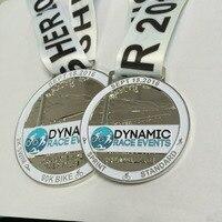 Deportes medalla de costumbre en oro/plata/bronce chapado en 2 pulgadas de diámetro atado con cordón personalizada-100 unids
