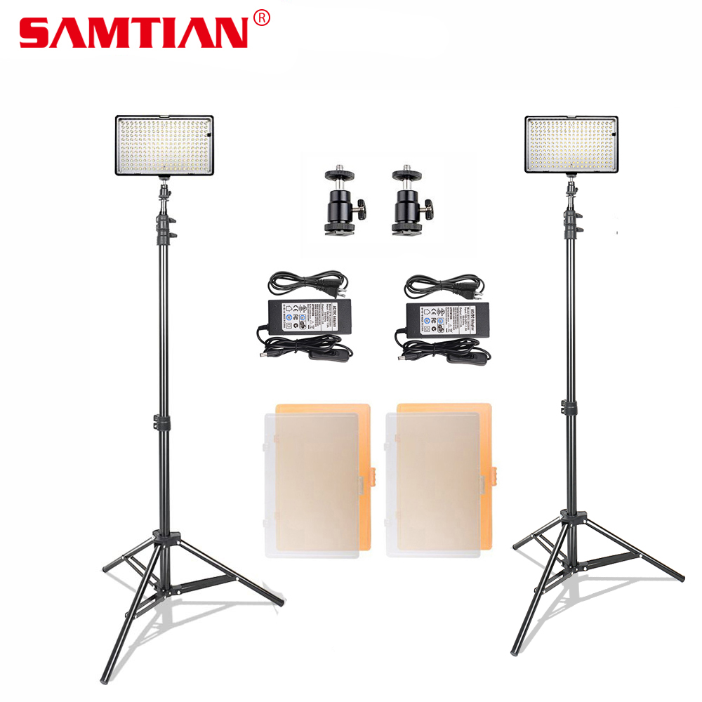 SAMTIAN 2 in 1 240 LED Video Photo Studio Light Panel Kit 1200 Lm 3200K/5600K With Tripod Stand for Photography Lighting gvm 520s b led video light with battery cri97 3200k 5600k for video making photography lighting and location shooting panel