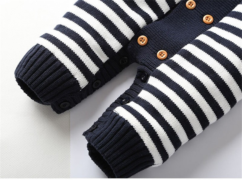 Baby Boys Girls Romper Thick Fleece Warm Cardigan for Winter Kids Knitted Sweater Romper Infant\'s Thick Climbing Clothes Hooded Baby Outwear CL0434 (7)
