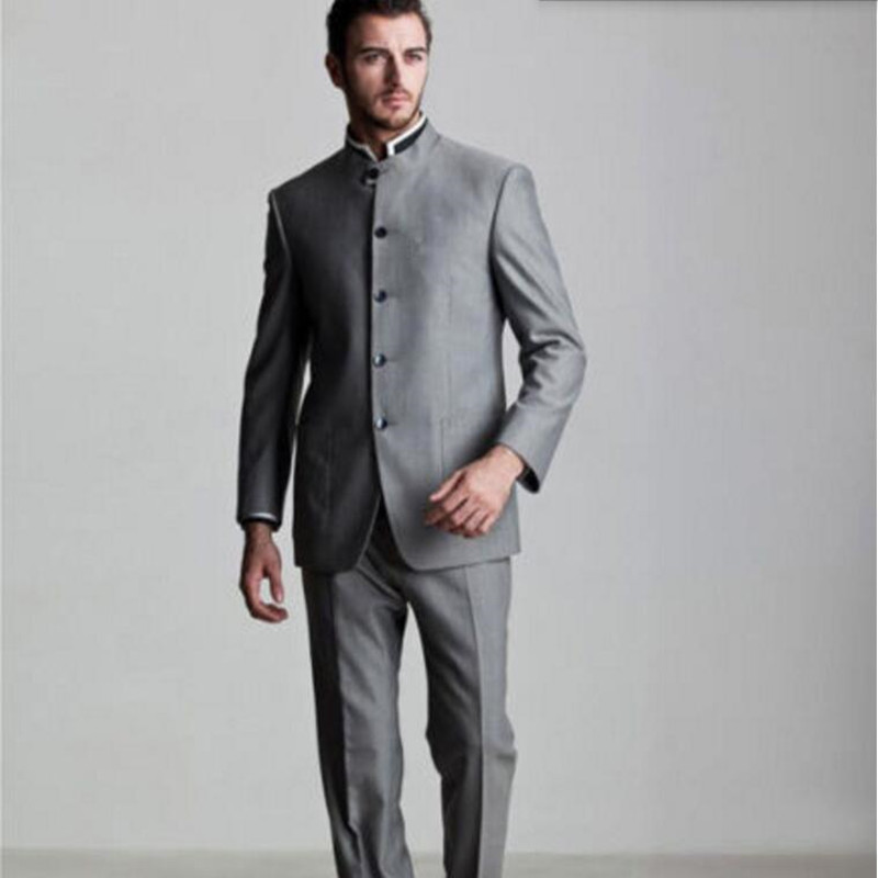 Stand Collar Formal Occasions Suits Tuxedos Custom Men Suits Latest Designs Men's Wedding Tuxedos Suits(jacket+pants)