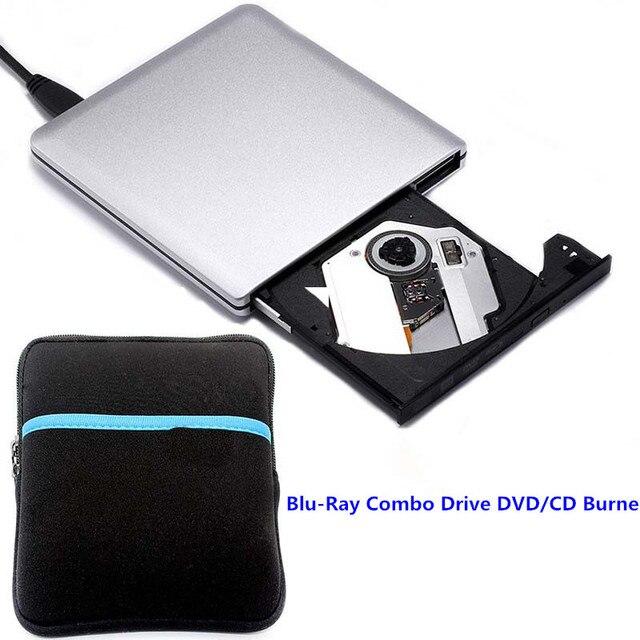 Ultra Slim externo USB 3.0 DVD Drive Combo Blu-ray 3D Player DVD RW Burner Escritor para Laptop + saco de Disco