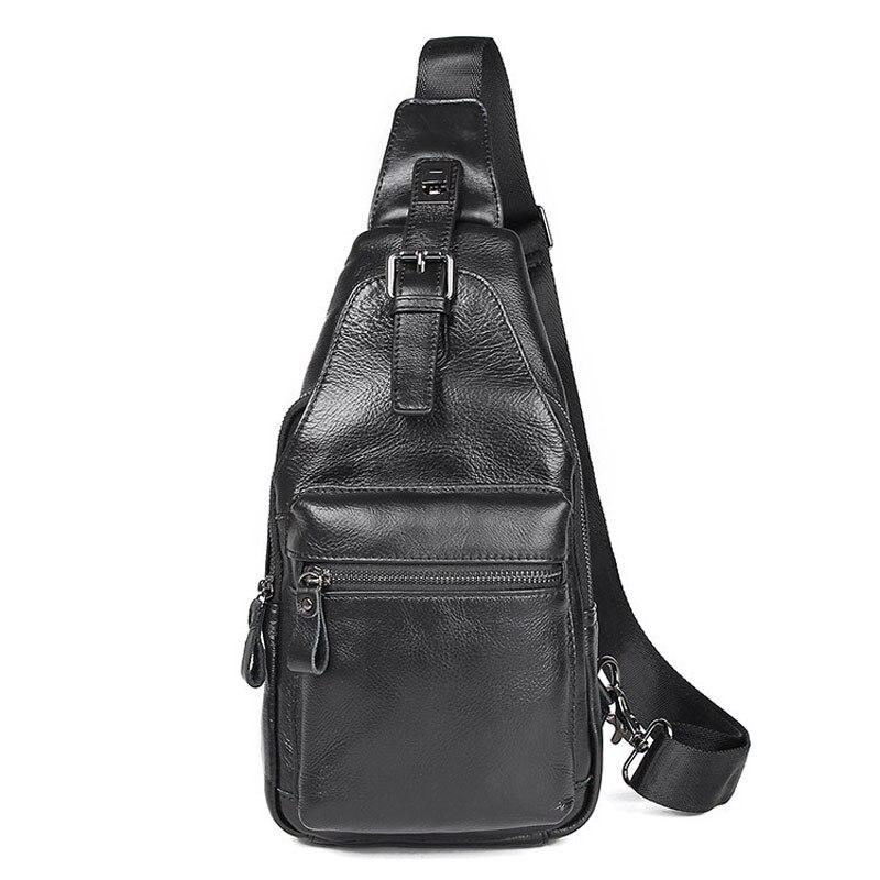 BOLEKE Crossbody Bags Men Genuine Leather Casual Messenger Bag Small Brand Design Male Shoulder Bag Chest