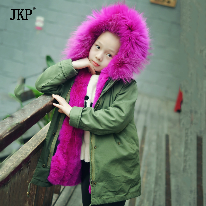 2017 Children Army Coat Kids Liner Real Rabbit Fur Clothing Winter Parkas Hooded Coat Boy and Girl Warm Thick Outerwear Jacket new army green long raccoon fur collar coat women winter real fox fur liner hooded jacket women bomber parka female ladies fp890