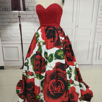 CRYSTAL JIANG 2019 Hot New Sweetheart Red Pearl Beaded Big Rose Floral Printed Ball Gown Sweep Train Amazing Evening Dresses