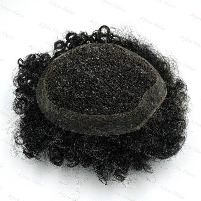 100 Мужская Волос Заказ Парик Шнурка Кожа Вьющиеся 1B С Седые Волосы Ренда H064