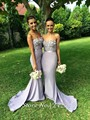 Vestido Madrinha Mermaid Open Back Sweetheart Maid Of Honor Dresses For Wedding Silver Gray Bridesmaid Dresses With Long Train