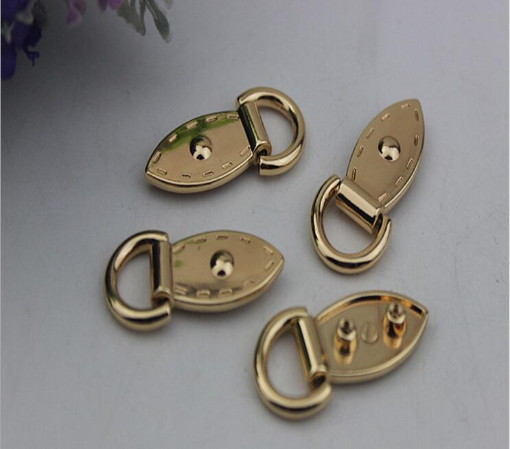 (10 PC/lot) metal plating processing leather handbag aglet connection side of oncomelania silk leaves buckle decorative accessor