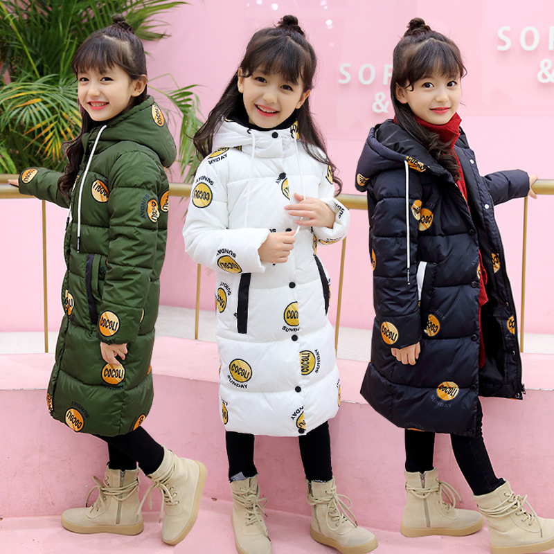 Kids Girls Down Jacket Coat 2017 New Winter Long Parkas Printed Hooded Thicken Warm Cotton Padded Overcoat Children Outerwear 2017 new solid winter jacket women hooded coat cotton padded parkas long warm sweat girls cold outwear female down jacket m 3xl