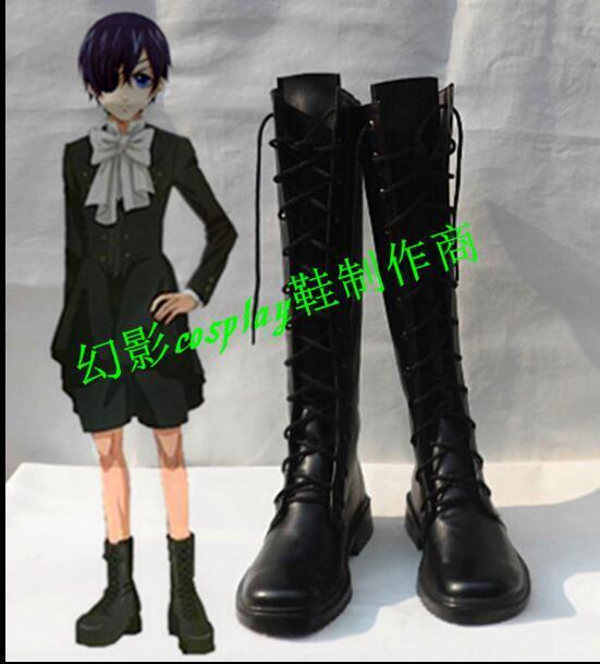 Black butler ciel Kuroshitsuji Black Bulter Grell Sutcliff cosplay costume boots lolita punk unisex women shoes