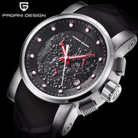 Top Luxury Brand Men quartz watch PAGANI DESIGN china Dragon Calendar Silicone Strap Multifunction Chronograph Waterproof Watch