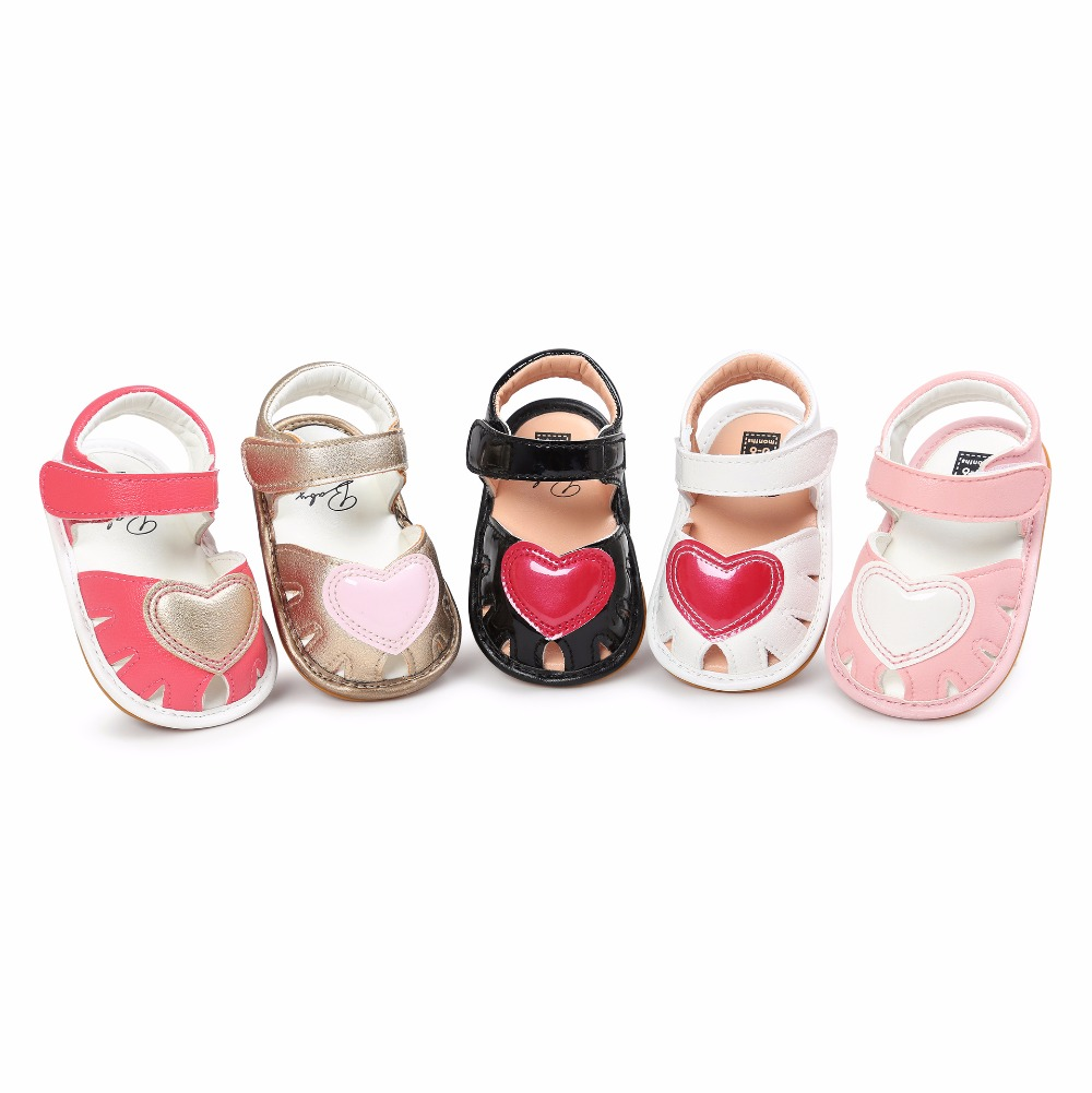 New Summer Heart Princess baby sandals Cute PU leather Baby moccasins hard sole child Summer girls Sneakers shoes 0-18 M