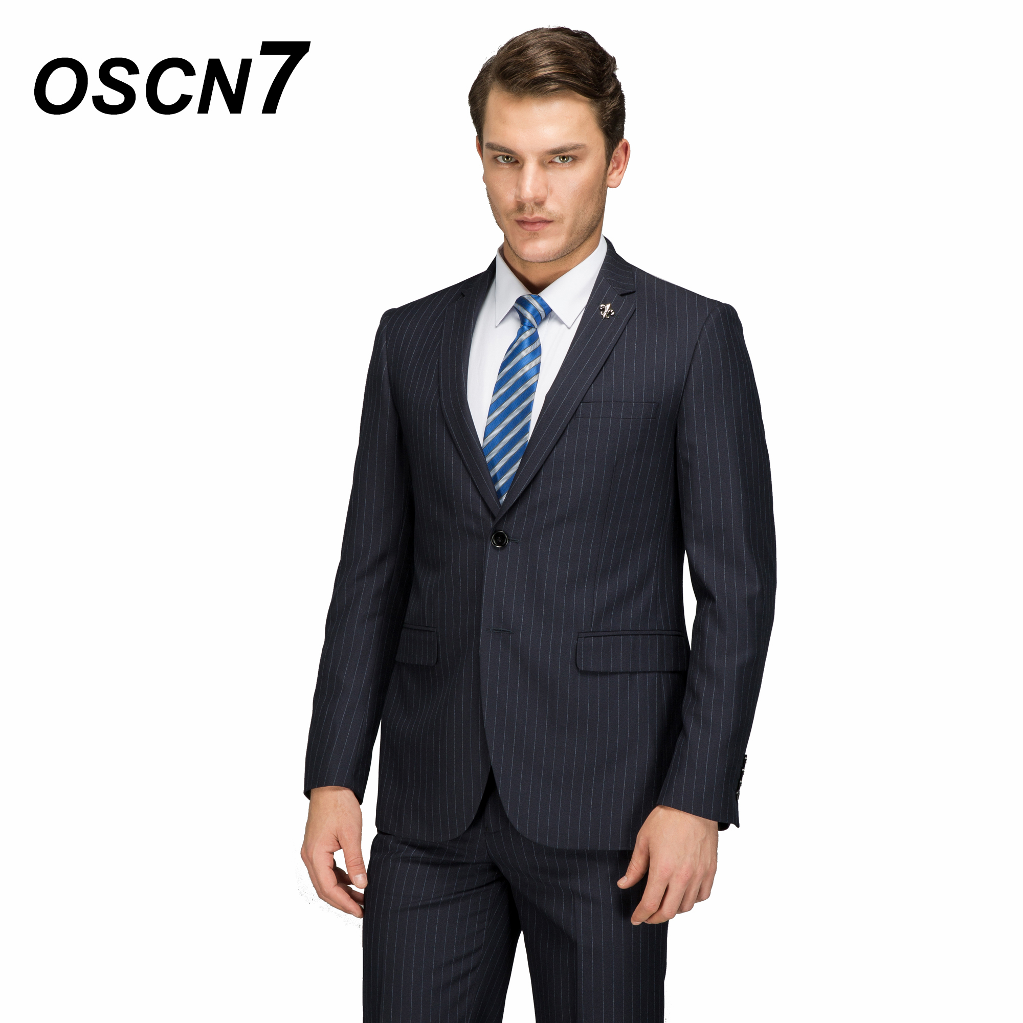 Oscn7 Wool Striped Customize Suit Men Plus Size Casual Business Wedding Mens Suits Fashion Terno Masculino 4624-11 At All Costs