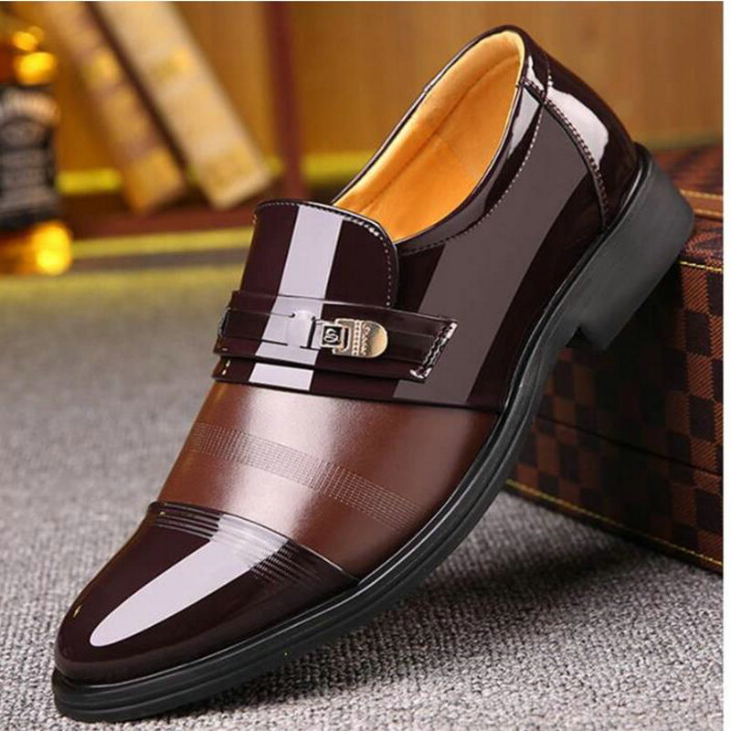 Shoes 2019 Fashion Casual Dress Men Shoes High-quality Shoes Leather Formal Dance Mens Tip Head Bright Leather Mesh Business Leather Shoe 2018 New Men's Shoes