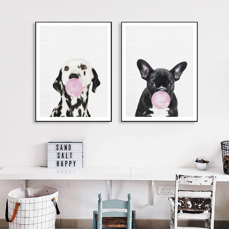 Dalmatian Dog Art Painting Bubble Animal Wall Pictures , French Bulldog Photography Posters Canvas Art Prints Nursery Decor