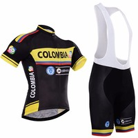 Colombia Summer Short Sleeve Pro Team Cycling Jersey Bib Suit Quick Dry Ropa Ciclismo MTB Bike