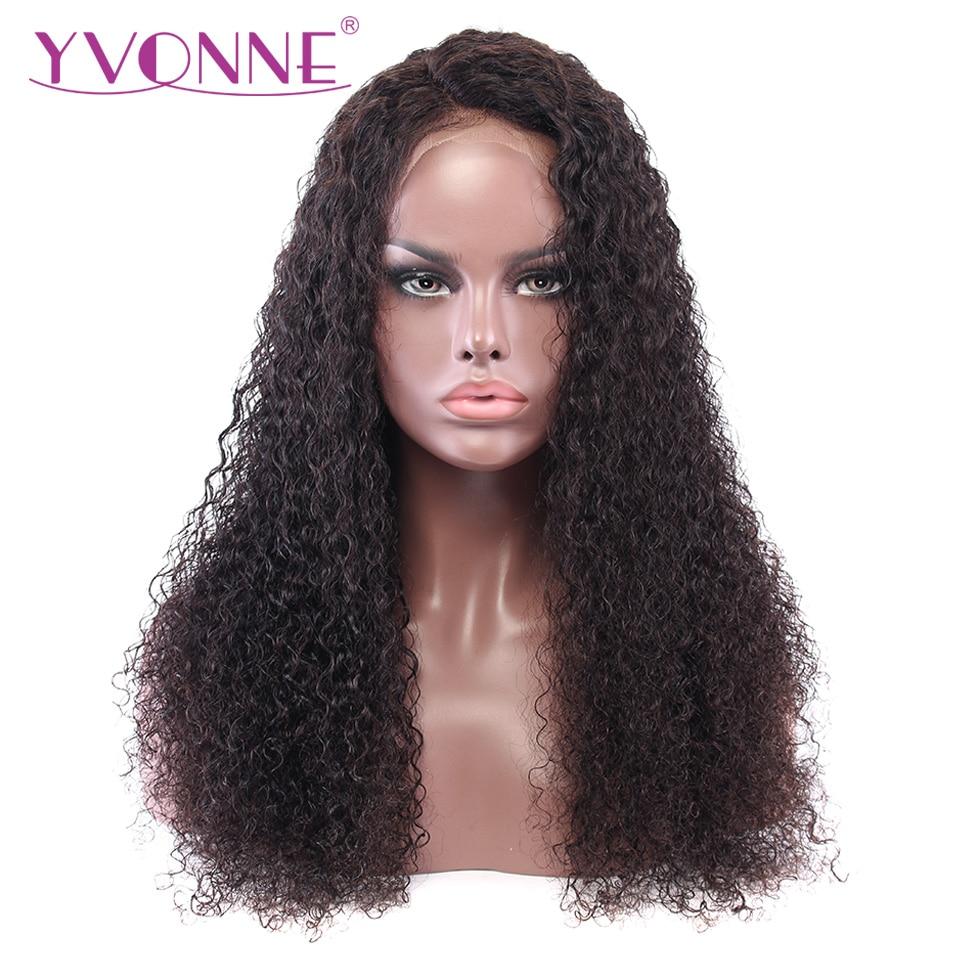 YVONNE Malaysian Curly Virgin Human Hair Lace Front Paryk För Svart - Mänskligt hår (svart)