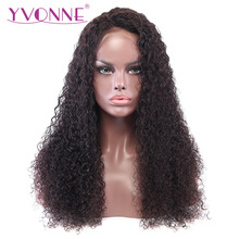 YVONNE Malaysian Curly Virgin Human Hair Hair Lace Front Parykker For Black Women Natural Color Gratis forsendelse
